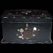 Beautiful 19th Century Black Papier Mache Tea Caddy with MOP, C. 1850