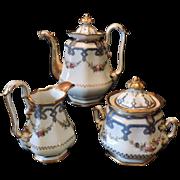 Gorgeous 19th Century Old Paris Porcelain Coffee Set 3-Pieces, C. 1860