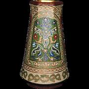 Exquisite Franz Anton Mehlem Persian Motif Tapestry Vase, C. 1897
