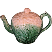 Beautiful Etruscan Griffin, Smith, Hill Cauliflower Majolica Tea Pot, C. 1870