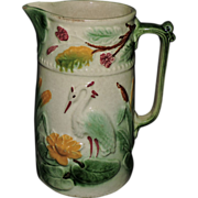 Colorful 19th Century English Majolica Pitcher W/ Crane, C. 1870