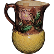 Beautiful 19th Century English Majolica Pitcher W/ Pink Dogwood Blooms, C. 1870