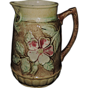 Gorgeous 19th Century English Majolica Pitcher W/ Pink Dogwood Bloom, C. 1870