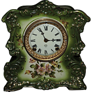 "SOLD Stunning Porcelain Ansonia Mantel Clock ""Whistle"", C.1905"