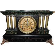 Outstanding Seth Thomas Adamantine Three Half-Pillar Shelf Clock, C. 1913