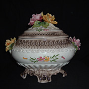 Capo-Di-Monte Soup Porcelain Hand-Painted Tureen W/ Applied Roses, C. 1920