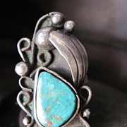 SALE Beautiful Vintage Show-Stopper Sterling Silver Native American Turquoise Ring