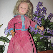SALE Antique Mulberry Stripe 2 Piece Doll Dress Trimmed with Blue