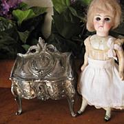 SALE Antique Miniature French Louis XV Style silver plated Bureau Secretary