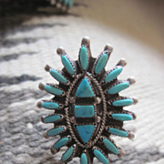 SALE Vintage 1940s Stunning Huge Native American Petit Point Squash Blossom Turquoise and Ster