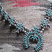 SOLD Exquisite Vintage Native American Zuni Signed  Petit Point Squash Blossom Necklace