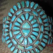 SALE Spectacular Signed Vintage Navajo Turquoise and Sterling Signed Cluster Cuff Bracelet