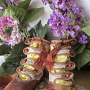 Antique Cream and Toffee Four Strap Kid Leather Bootines Suitable for Dolls, Bears