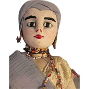 SOLD Rare Vintage Bahia Folk Art Cloth Doll with Fingernails, Light Complexion
