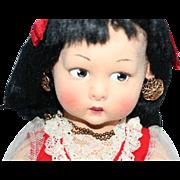 SALE Vintage 1930s - 1940s Large Lenci Sicilia Felt Young Lady Doll