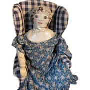 SALE Antique Primitive Folk Art Americana Cloth Rag Doll