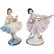 SALE Exquisite Miniature Dresden China Ballerina Pair