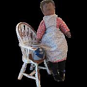 SALE Antique Americana Folk Art Oil Painted Face Cloth Girl doll