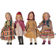 SALE Rare Museum Quality Early Set of 4 Hedwig - deAngeli Dolls