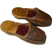Museum Quality Antique Wooden Sole Leather Slippers - Clogs Suitable for an Early Doll