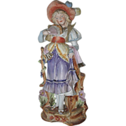"""Huge Antique Bisque Figurine Girl With Fan  17"""""""