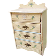 SALE Large Antique Painted Wooden Doll Sized Chest of Drawers TLC