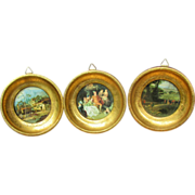 SALE Trio Miniature Florentine Wooden Gilt Frames with Prints for French Fashion Doll