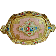 Beautiful Vintage Italian Florentine Oblong Hand Painted Toleware Tray