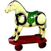 SALE Vintage French Papier Mache Horse Pull Toy for your Antique Doll