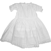 SALE Antique Edwardian Baby or Doll Dress in Fine White Cotton with Pin Tucks and Broderie Ang