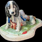 SALE Vintage Naturecraft Congleton England Sculptural Figural Dog and Kitten Group 910 entitle