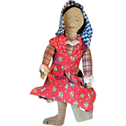 SALE Early Americana Primitive Folk Art Antique Cloth Rag Doll with Multi-Face Layers