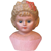 SALE Magnificent Large Antique Wax over Papier Mache Doll Head with Elaborate Molded Hair and