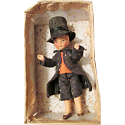 Small Antique Original in Box All Bisque German Boy Doll
