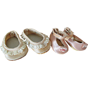 SALE Two Pairs of Vintage Doll Shoes