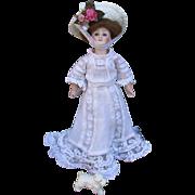 SALE Scarce Smallest Size Antique Kestner 172 Gibson Girl in Garden PartyGown