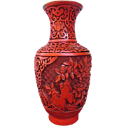 SALE Asian Hand Carved Cinnabar over Brass Strikingly Beautiful Vase