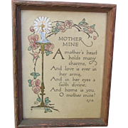 Small Antique Edwardian Hand Tinted Poetry Motto Framed Print for Mother suitable to Display .