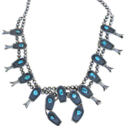 Vintage 1940 -1950s Museum Quality Statement Piece Native American Squash Blossom Necklace : T