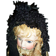 Museum Quality Antique Mid-19th C French Black Lace Mourning Bonnet suitable for French Fashio
