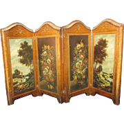 Vintage Florentine Wooden Gilt Miniature 4 Panel Folding Table Screen Vanity for Ffrench ...
