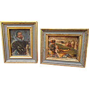 Miniature Vintage Hollywood Regency Gilded Wooden Framed Decoupage Print Pair Perfect for ...