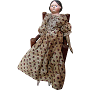 SALE Early Pre-Civil War Covered Wagon Hairdo Papier Mache Doll so-called Milliner Model ...