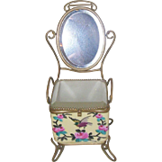 Antique French Handpainted Porcelain Presentation du Mariee' Cache with Attached Cheval Bevele
