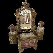 Rare Antique French Ormolu Bevelled Glass Bride's Boudoir Presentation Vitrine Casket perfect