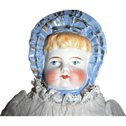 SALE Antique German Parian Molded Blue Bonnet Head Doll