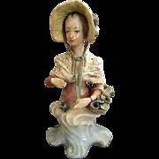 Romantic 1940s Cybis Cordey Ribbon and Flower Bonnet Lady Bust Rococco Figurine