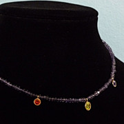14k Beaded Glass and Gem Necklace