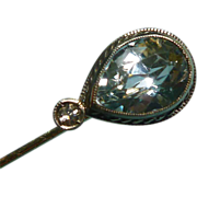 Aquamarine and Diamond 14k White Gold Stick Pin