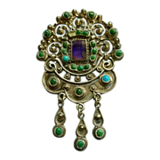 Mexican Silver MATL Brooch or Pendant with Turquoise
